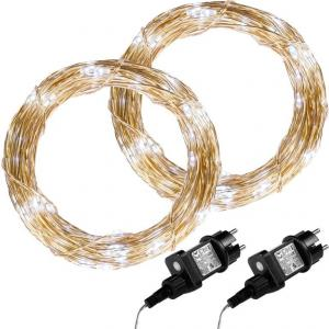Sada 2 kusov svetelných drôtov 50 LED - studeno biela