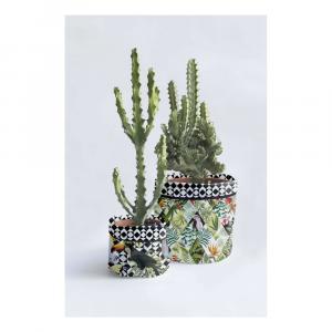 Sada 2 textilných kvetináčov Surdic Tropical Patchwork