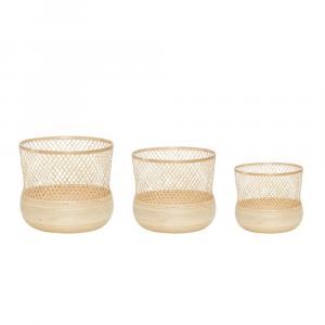 Sada 3 bambusových košov Hübsch Tora