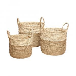 Súprava 3 úložných košíkov z morskej trávy Hübsch Maria
