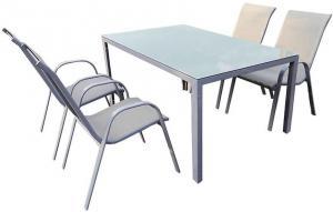 Sada Bergen sklenený stôl + 4 stoličky šedá