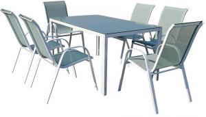 Sada Bergen sklenený stôl+ 6 stoličiek morský