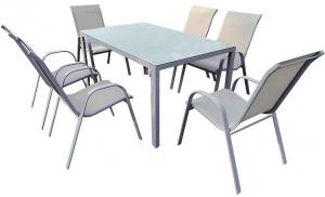 Sada Bergen sklenený stôl + 6 stoličiek šedá