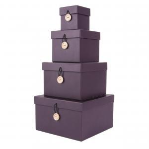 Sada štyroch fialových papierových boxov Uniform