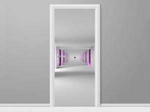 Samolepiaca fólia na dvere Chodba a fialový vesmír 95x205cm ND4742A_1GV