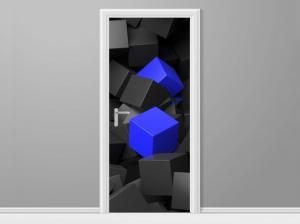 Samolepiaca fólia na dvere Čierno - modré kocky 3D 95x205cm ND3705A_1GV
