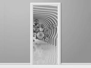 Samolepiaca fólia na dvere Futuristické bubliny 3D 95x205cm ND2813B_1GV