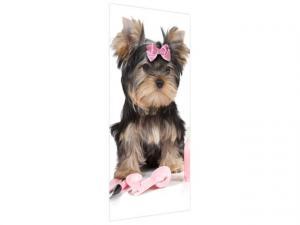 Samolepiaca fólia na dvere Malý psík s mašľou 95x205cm ND4860A_1GV