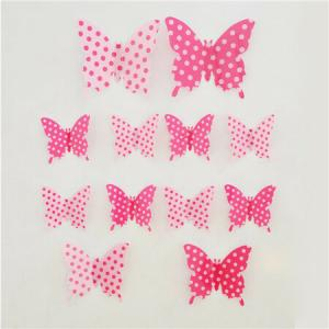 Samolepiace 3D motýle ružová bodka, 12 ks,