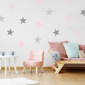 Samolepiace hviezdy na stenu svetloružové