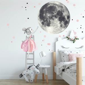 Samolepka na stenu - Mesiac a dievča na rebríku