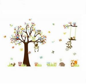 Samolepka na stenu Samolepka rozprávkový strom sovičky, opice 150 cm