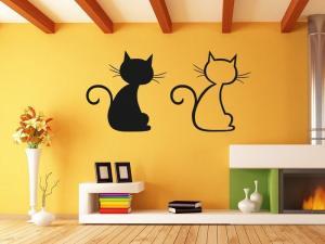 Samolepka na zeď Dvě kočky 0440