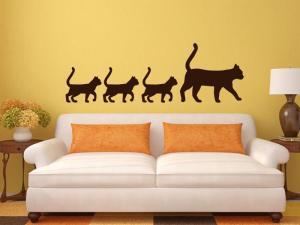 Samolepka na zeď Kočka a koťata 0477