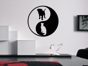 Samolepka na zeď Kočka a pes 0547