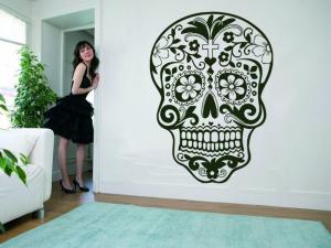 Samolepka na zeď Květinová lebka 001