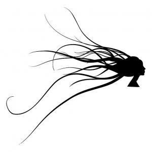 Samolepka Žena s vlasmi _B22