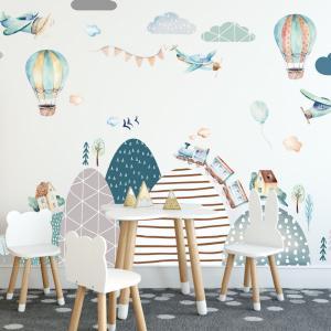 Samolepky na stenu - Kopce, lietadlá, bálony a vláčik