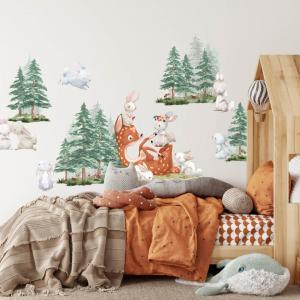 Samolepky na stenu - Zajkovia v lese