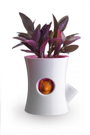 Samozavlažovací kvetináč Qualy Log & Squirrel, biely-ružový