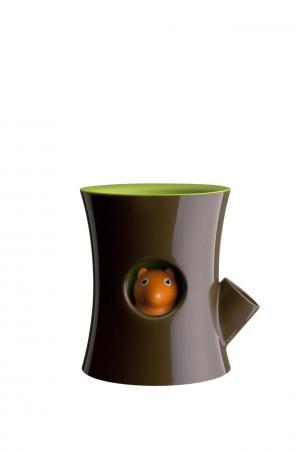 Samozavlažovací kvetináč Qualy Log & Squirrel, hnedý-zelený