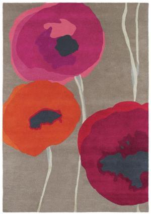 SANDERSON Poppies 45700 Red/Orange, tmavošedá/bordová