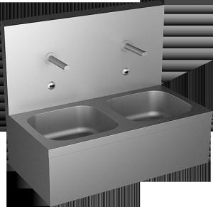 Sanela - Nerezový závesný dvojdrez so zadnou stenou a integrovanými senzormi s elektronikou ALS pre prívod teplej a studenej vody, 6V