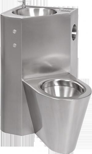SANELA Piezo antivandalový nerezový set WC s umývadlom do rohu, závesné vpravo