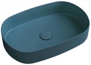 SAPHO - INFINITY OVAL keramické umývadlo na dosku, 55x36 cm, matná zelena Petrol 10NF65055-2P