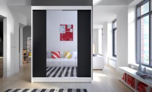 Šatníková skriňa čiernobiela Carten 150 cm