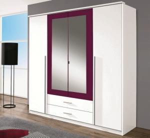 Šatníková skriňa Krefeld, 181 cm, biela/fialová