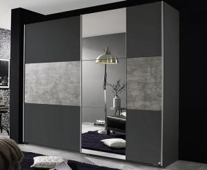 Šatníková skriňa Prenzlau, 218 cm,tmavá sivá / sivý betón