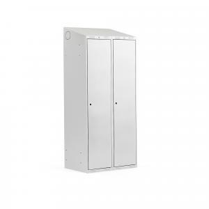 Šatňová skriňa Classic, 2 sekcie, 1900x800x550 mm, šikmá strieška, šedá
