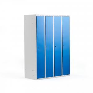 Šatňová skriňa Classic, 4 sekcie, 1740x1200x550 mm, modrá