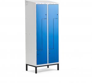 Šatňová skrinka Classic, tvar Z, na nožičkách, 2 sekcie, 4 dvere, modrá
