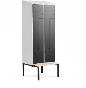 Šatňová skrinka Classic, tvar Z, s lavičkou, 2 sekcie, 4 dvere, čierna