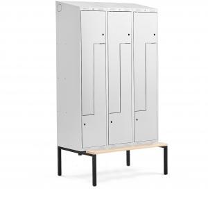 Šatňová skrinka Classic, tvar Z, s lavičkou, 3 sekcie, 6 dverí, šedá