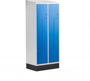Šatňová skrinka Classic, tvar Z, so soklom, 2 sekcie, 4 dvere, modrá