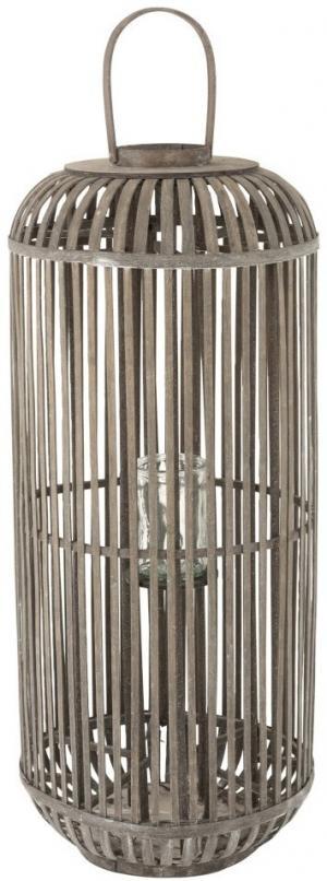 Šedá drevená lampáš so stojanom na sviečku Zephyrine L - Ø 40 * 95 cm