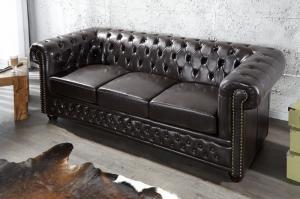 Sedačka CHESTERFIELD 3-sedačka tmavá kávová vintage štýl