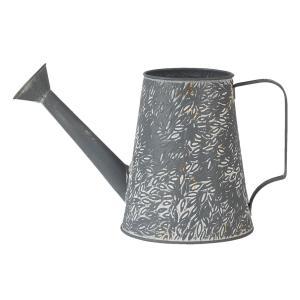 Šedo béžová plechová dekoratívna kanva - 14 * 14 * 17 cm