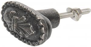 Šedo-čierna kovová úchytka Oval - 5*3 cm