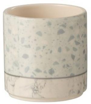Šedo-modrý keramický obal na kvetináč Terazzo - Ø10 * 10 cm