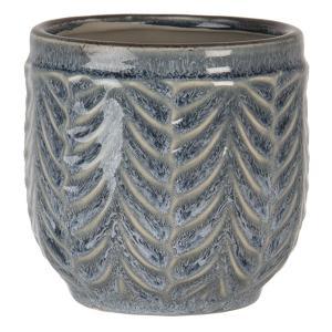 Šedo-modrý žíhaný keramický obal na kvety S - Ø 12 * 11 cm