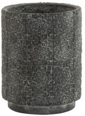 Šedý betónový kvetináč zdobený kvetmi - Ø23*29 cm