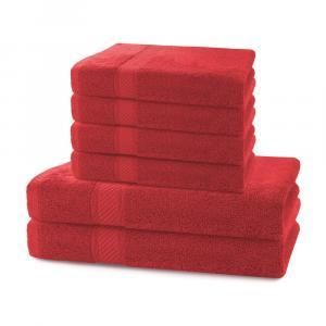 Set 2 červených osušiek a 4 uterákov DecoKing Bamby