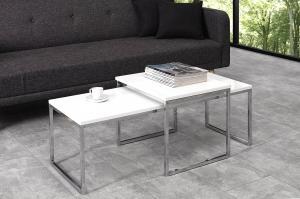 Set 2 konferenčných stolíkov Nicolette biela