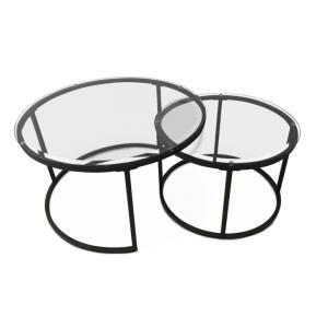 Set 2 konferenčných stolíkov, tvrdené sklo/kov, KALERO