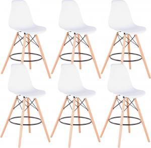 Barové stoličky, set 6 ks, biela/buk, CARBRY 2 NEW