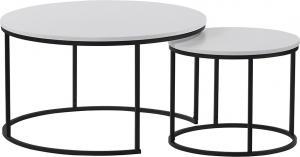 Konferenčné stolíky, set 2 ks, biela/čierna, IKLIN